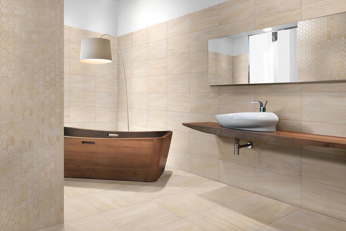 Gres porcellanato effetto marmo sensibile avorio 30x60 - Bagno gres porcellanato ...
