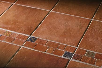 Terracotta effect floor tiles bronze