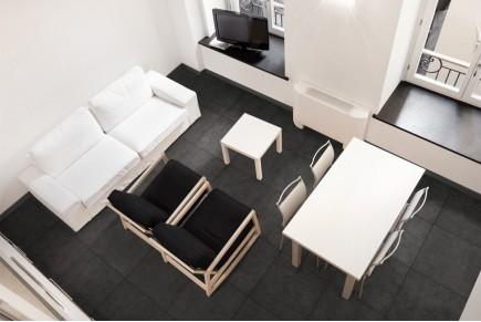 Concrete effect floor tiles - Graphite
