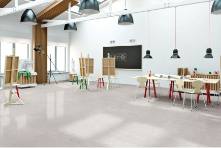 Concrete effect floor tiles - White