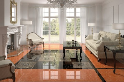 Marble effect tiles - Orange