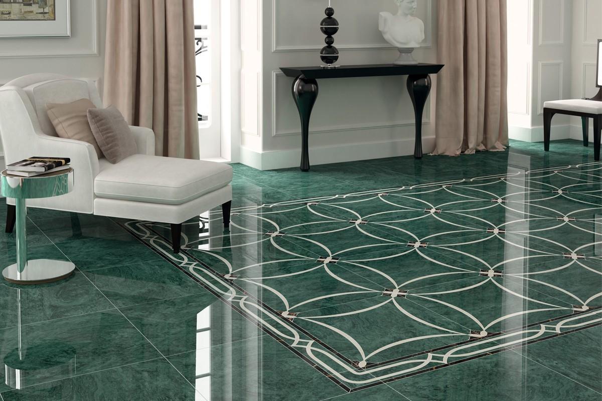 Gres porcellanato effetto marmo verde PA 1208 59X59 LUC.