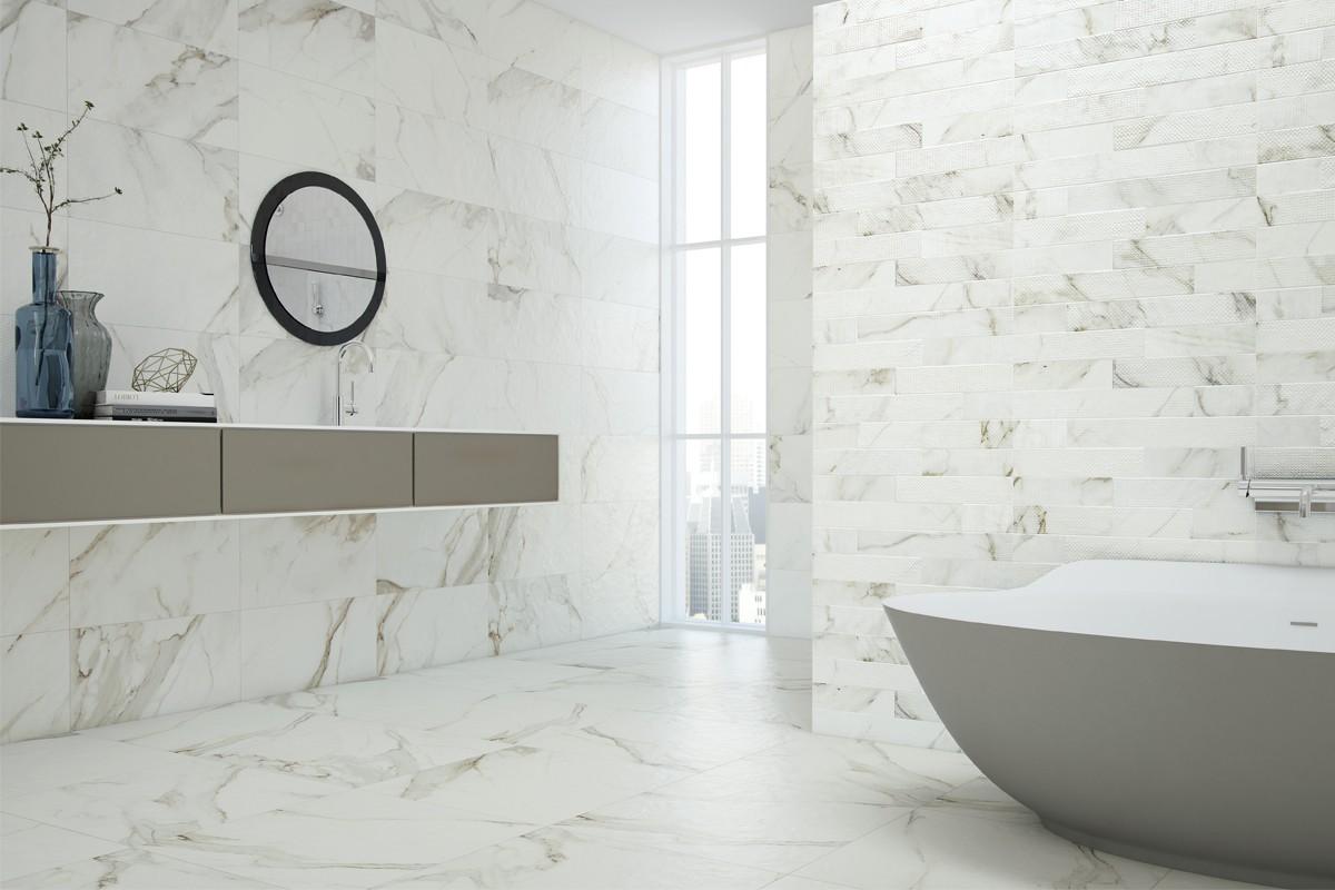 Gres porcellanato effetto marmo calacatta cal 1200 60x60 - Piastrelle gres porcellanato effetto marmo ...