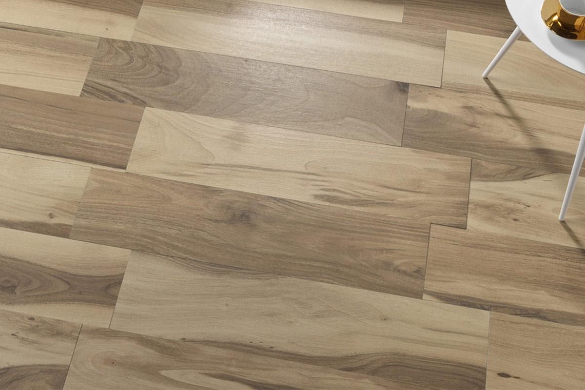 Gres porcellanato effetto legno Acadia Castano 22,5x90 Ceramiche S...