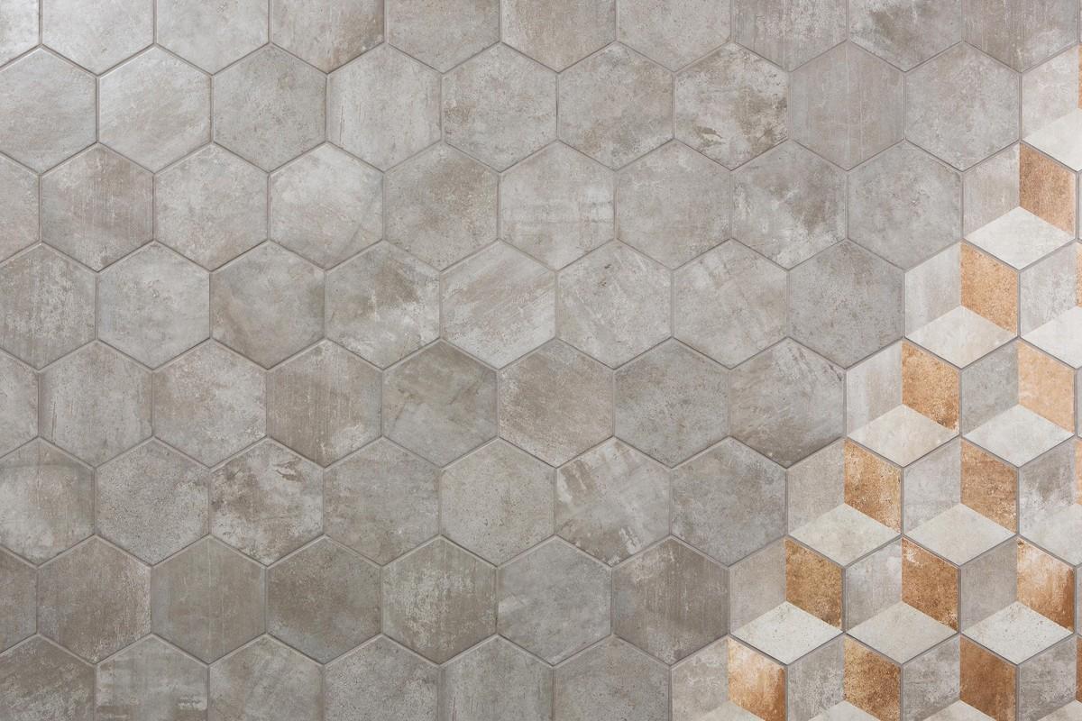 Gres porcellanato rustico manoir grigio decoro manoir - Piastrelle esagonali prezzi ...