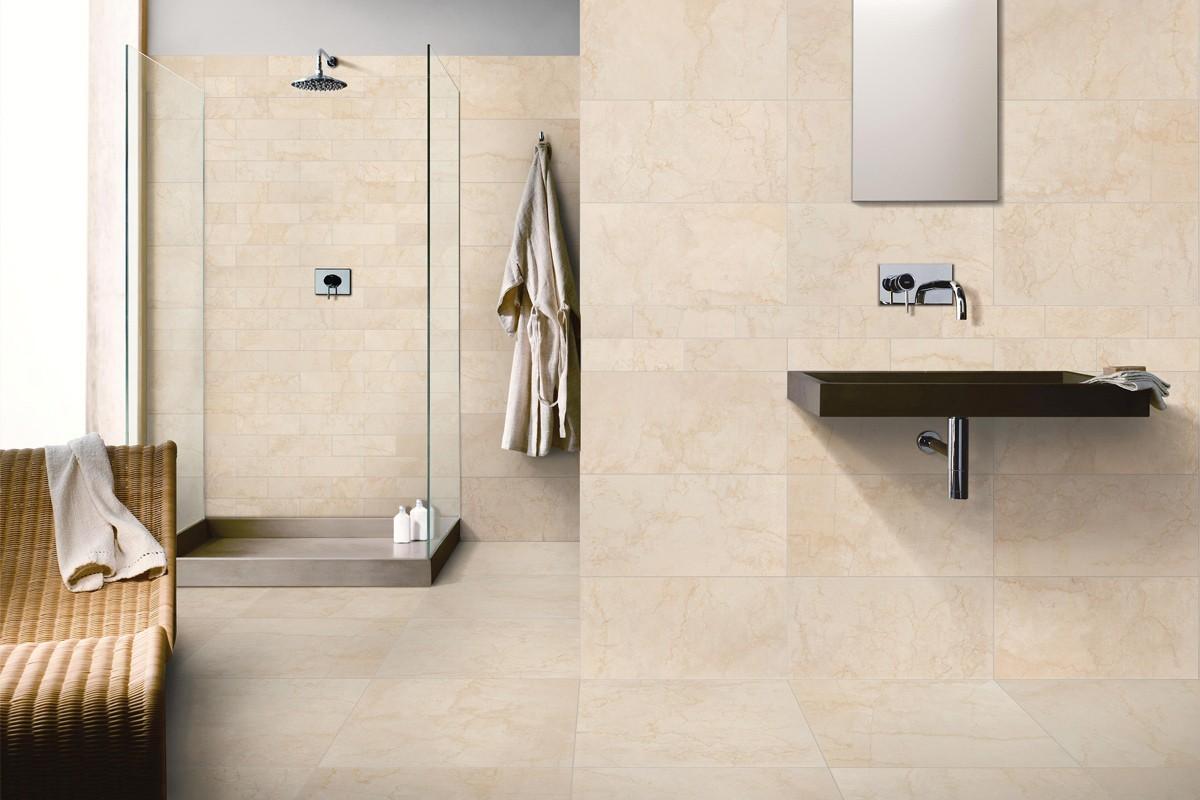 Gres porcellanato effetto marmo botticino beige 30x60 - Bagno gres porcellanato ...