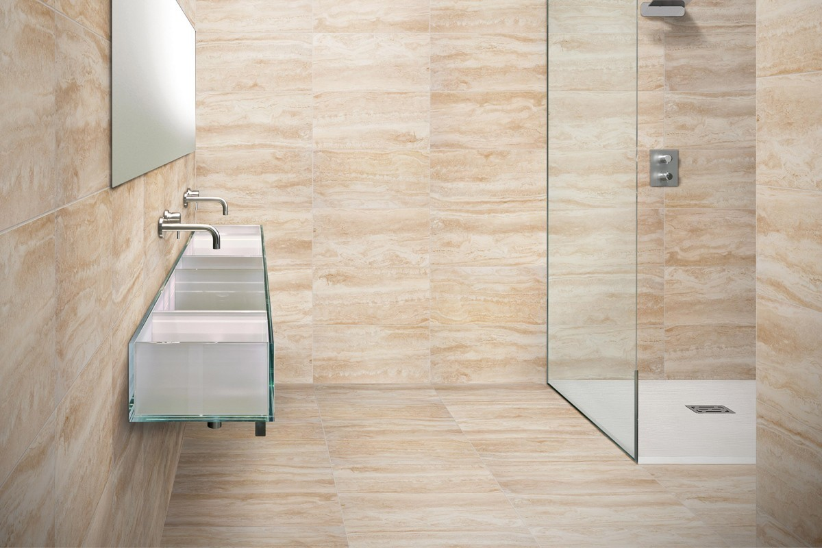 bagno pietra beige : Marble effect tiles - Travertino 30x60