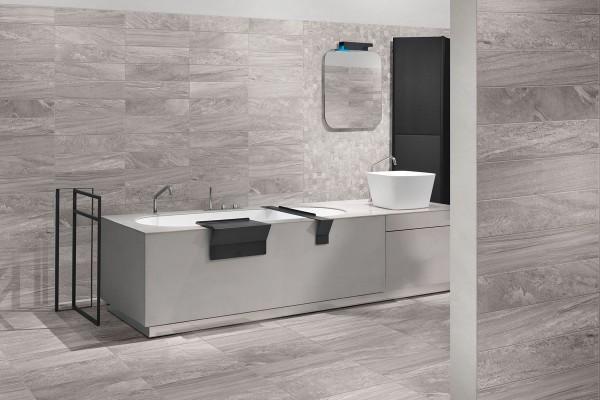 Gres porcellanato effetto pietra morbida grigio 30x60 - Piastrelle grigie bagno ...