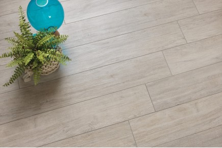 Wood effect floor tiles grey
