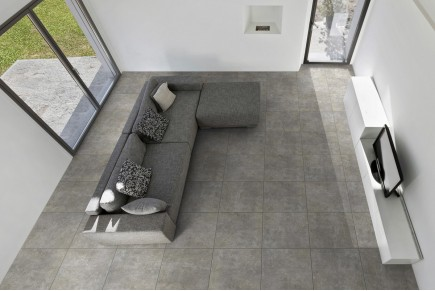 Concrete effect floor grey