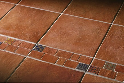 Terracotta effect floor tiles bronze