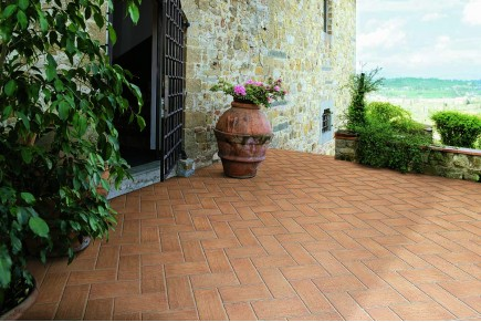 Terracotta effect floor tiles copper