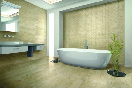 Wood effect floor tiles ivory