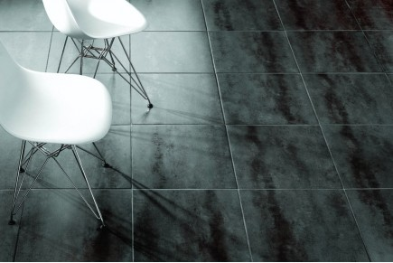 Concrete effect floor tiles black