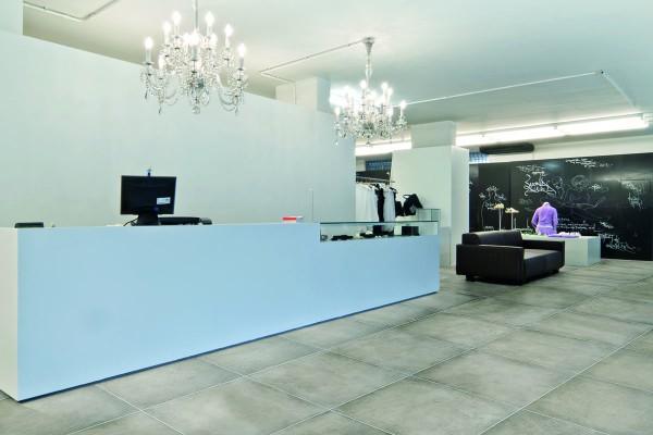 Concrete effect floor tiles grey
