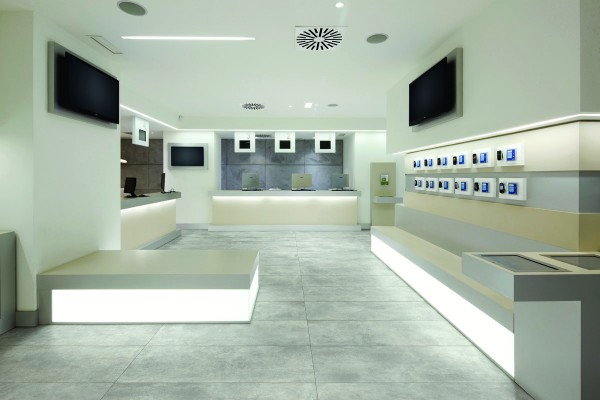 Concrete effect floor tiles spray