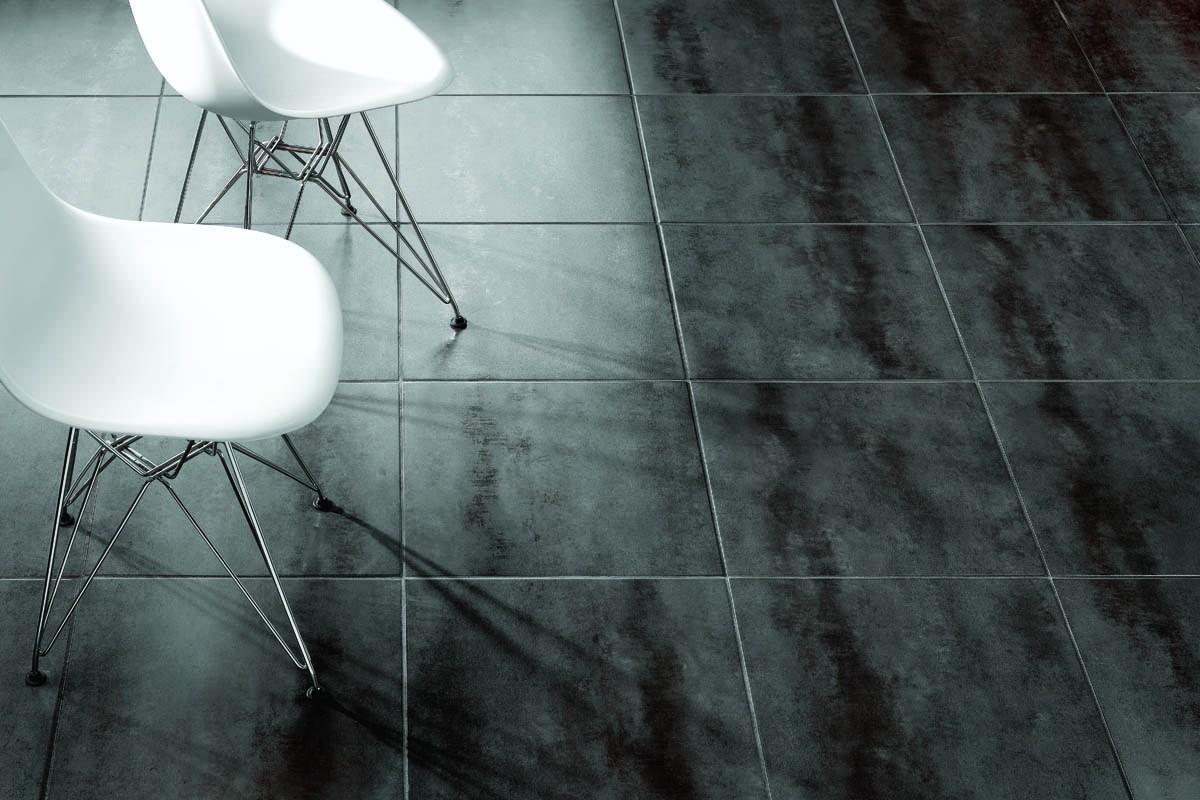 Concrete effect floor tiles black - ItalianGres