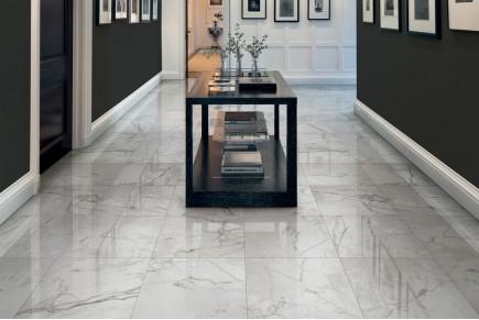 Marble effect tiles - White melange