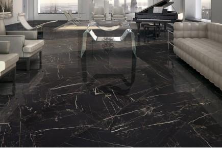 Grès cérame effet marbre noir