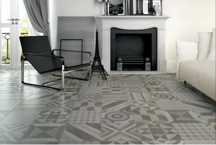 Concrete effect floor tiles - Mix