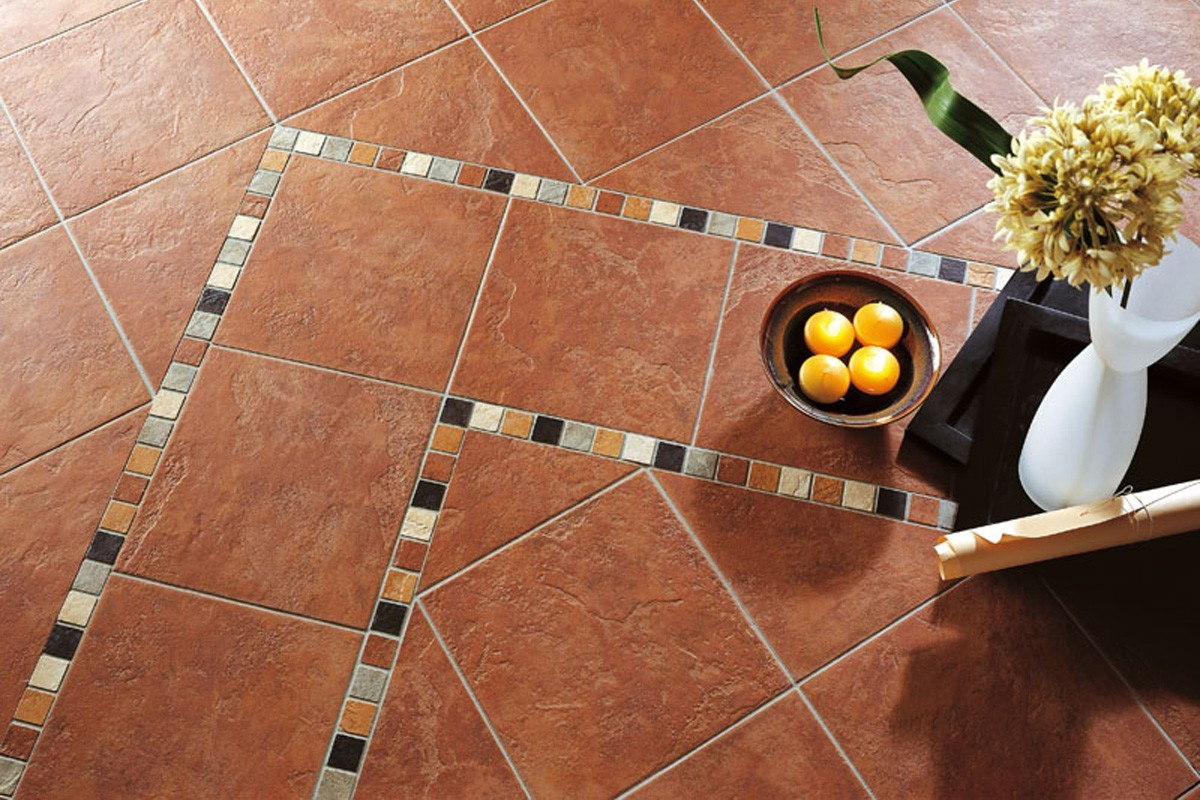 Terracotta effect floor tiles - Earth brown