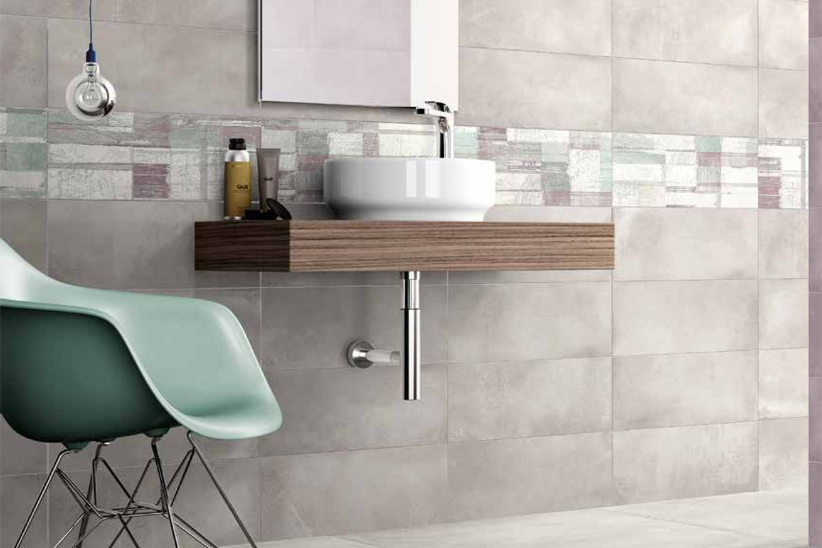 Double fired wall tiles light grey ba 3002 20x45 Fired tiles