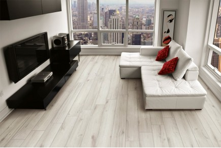 Wood effect floor tiles white