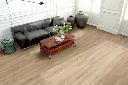 Wood effect floor tiles honey
