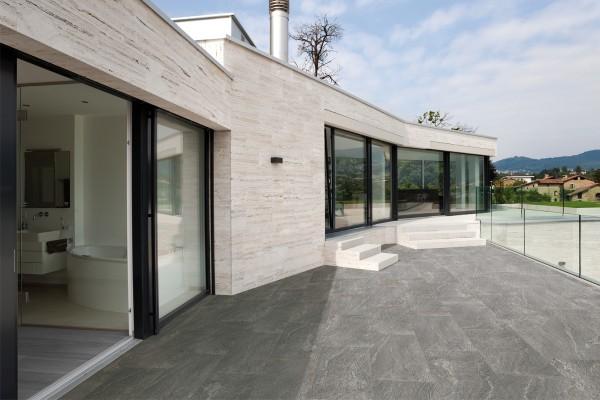 Stone effect tiles - dark grey