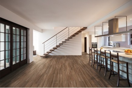 Wood effect floor tiles - Dark nut