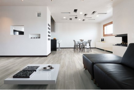 Wood effect floor tiles - Olive grey