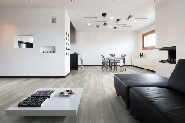 Wood effect floor tiles - Olive grey