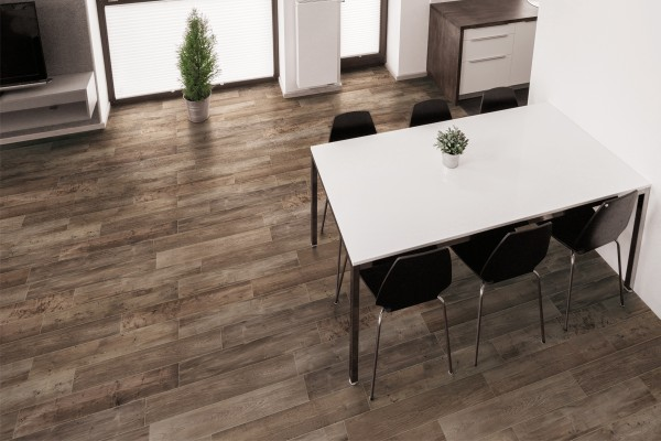 Wood effect floor tiles chestnut