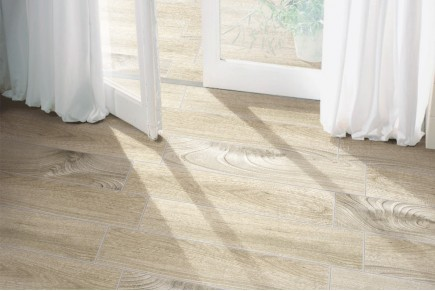 Wood effect floor tiles cedar