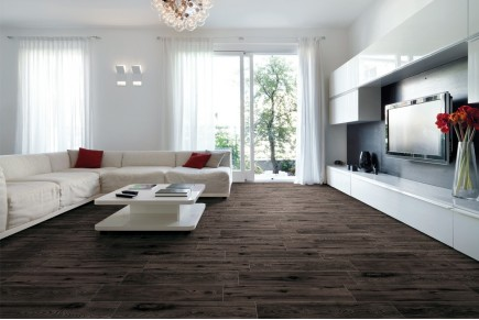 Wood effect floor tiles nut