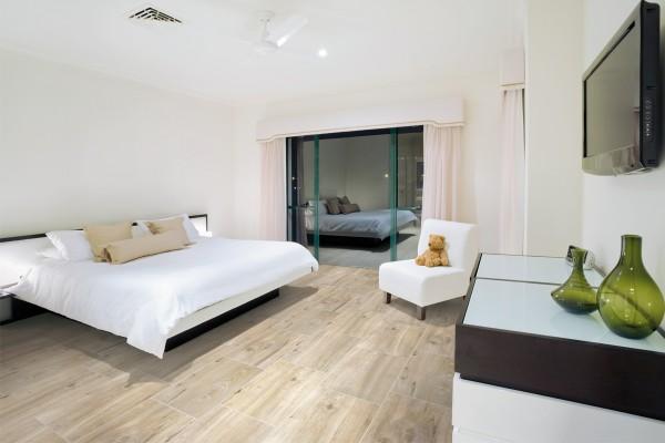 Wood effect floor tiles beige