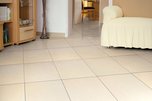 Concrete effect floor tiles - Cream