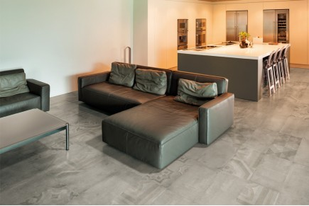 Concrete effect floor tiles - Dove grey
