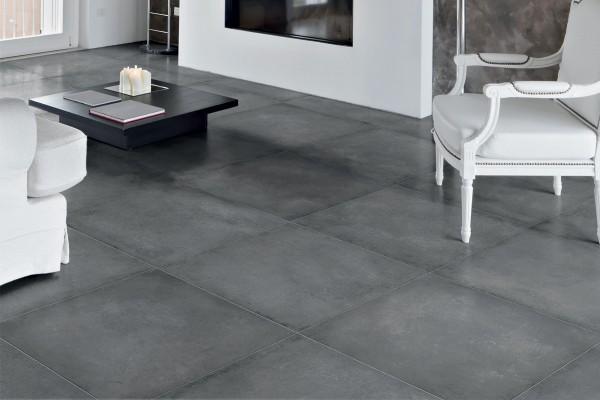 Concrete effect floor tiles - Anthracite