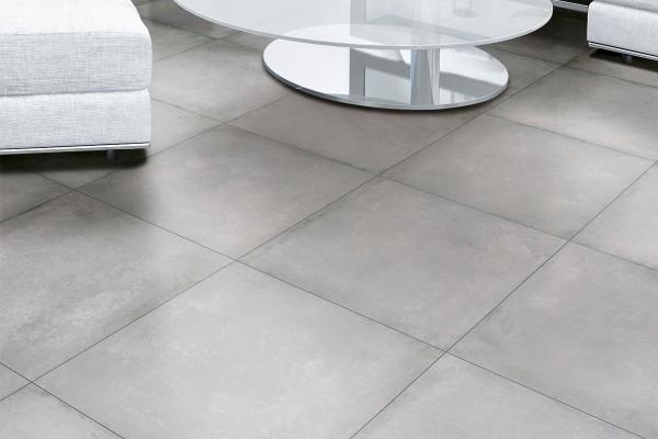 Concrete effect floor tiles - Middle grey