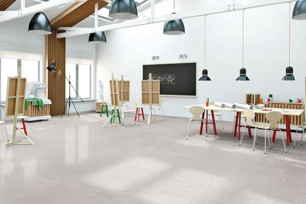 Concrete effect floor tiles - White