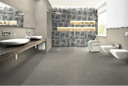 Fabric effect tiles - Walnut
