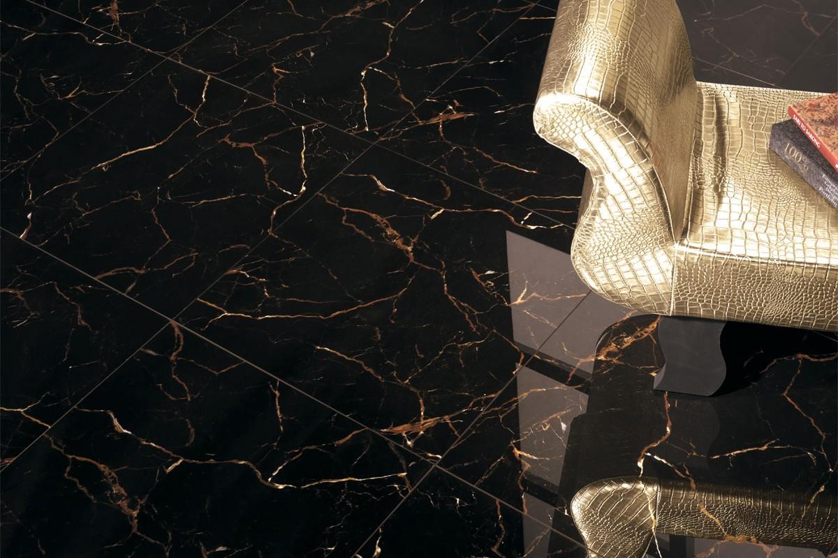 Marmor Effekt Fliesen Schwarz Pa 1214 59x59 Luc
