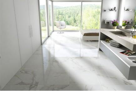 Grès cérame effet marbre carrara