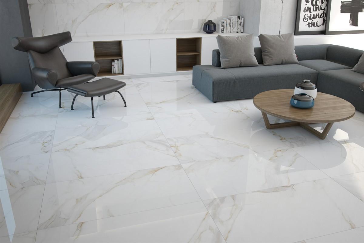 Gres porcellanato effetto marmo calacatta pa 1200 59x119 luc - Piastrelle gres porcellanato effetto marmo ...