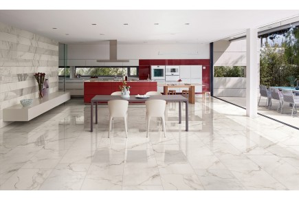 Grès cérame effet marbre Calacatta - poli