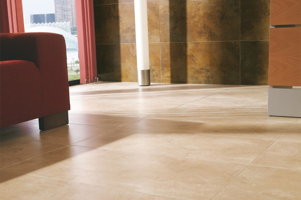 Metal effect tiles - beige