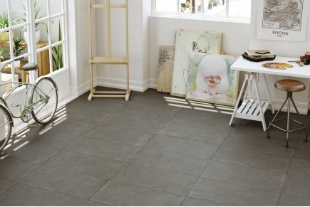 Concrete effect floor tiles - Anthracite