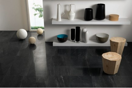 Stone effect porcelain stoneware anthracite