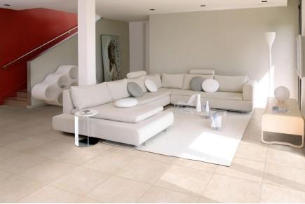 Concrete effect floor tiles - Ivory